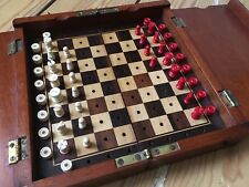 Antique Mahogany Folding Travel Chess & Droughts Set - Incomplete