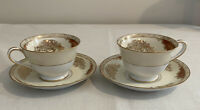 Set of 2 Noritake 4986 Coffee/Tea Cups and Saucers Gold Floral Pattern Red Panel