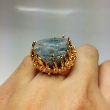 Blue Sapphire Stone Nature Rings Gold Plate Thai Amulet Success Love Halo Size 6