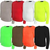 Kids Plain Basic Tee Girls Round Neck Top Boys Long Sleeve Slim Soft Shirt 3-14Y