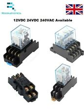 12V/24V/240V Coil General purpose Relays 8/14 Pin with DIN Sockets DPDT/4PDT
