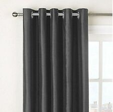 """NEW Slate Grey Faux Silk Fully Lined Eyelet Curtains  90"""" x 90"""" inches Ring Top"""