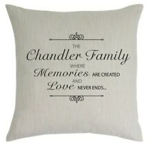 Personalised linen cushion with family name