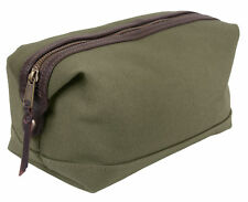 Travel Toiletry Kit Bag Olive Drab Leather & Canvas Rothco 9866