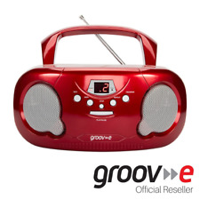 GROOVE BOOMBOX PORTABLE CD PLAYER W/ RADIO/AUX IN/HEADPHONE JACK - RED - GVPS733