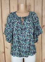 A.N.A Womens Plus Size 2X Petite Short Sleeve Shirt Floral Print Rayon Top NWT
