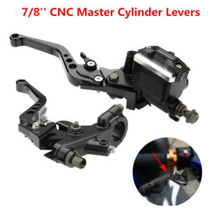 "7/8"" 22mm Motorcycle CNC Front Brake Clutch Master Cylinder Lever Reservoir M10"