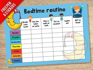 Bedtime Nightime Routine Reward Chart - Kids Childrens Sticker Star Behaviour
