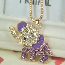 T Elephant Sweater Bead Necklace Rhinestone Crystal Pendant Christmas Lover Gift