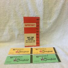 Vintage Disneyland First Time Visitors Flyer 1950 Ticket Book Empty Adult Junior