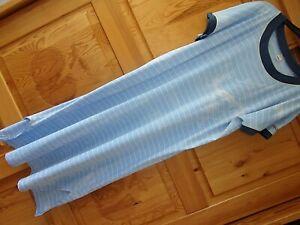 CALIDA SWITZERLAND L 44 46 Maritimes Sommer Nachthemd Kurzarm blau weiß lang