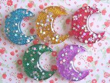 5 x Pretty Glitter Crescent Moon Flatback Resin Embellishment Crafts Cabochon UK