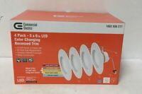 Commercial Electric 4-Pack 5/6 in. Matte White Integrated LED Recessed Trim