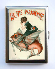 Cigarette Case id case Wallet La Vie Parisienne Girl Fish Art Deco