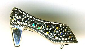 "925 Sterling Silver Marcasite High Heel Shoe Brooch 7/8"" 2.3 grams Stiletto Pump"