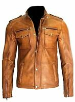 Men's Motorcycle Real Lambskin Tan Brown Leather Distressed Moto Biker Jacket