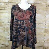 Soft Surroundings MILLIE Floral Bird Swing Tunic Top Shirt Women's S Blue Brown