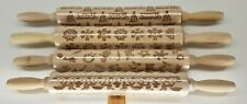 Wooden Embossing Rolling Pin Dough Engraved Roller CHOICE of Designs Bare Wood