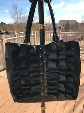 Genuine Oleg Cassini BLACK WITH RUFFLES AND GOLD TONE ACCENTS Hand/SHOULDER bag