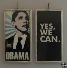 OBAMA YES WE CAN ART GLASS PENDANT NECKLACE
