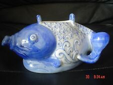 Authentic Chinese Koi Goldfish Blue And White Tea Pot Handle And Lid Missing