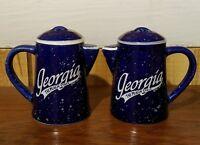 Georgia GA The Peach State Coffee Pot Salt Pepper Shaker Set Souvenir Navy Blue