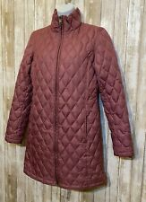 Land's End Lightweight Down Puffer Jacket Quilted Coat Purple Long Size XS