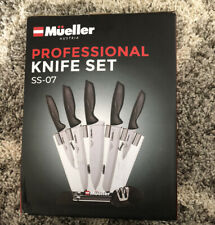 New In Box Mueller Austria Deluxe Knife Set With Block, Stainless Steel
