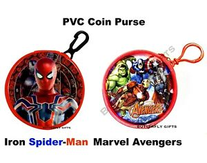 Children's PVC Spiderman or Avengers Coin Wallet Bag With Clip Keyring Iron Man