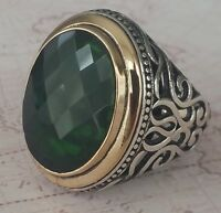 Turkish Ottoman Faceted Green Emerald Gemstone  Solid 925 Sterling Silver Ring