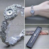 Marcasites Watch Women Brass Bracelet Japan Quartz Silver Pewter Laides Gift 06