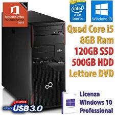 PC COMPUTER DESKTOP RICONDIZIONATO i5 8GB SSD120GB HDD500 WINDOWS 10 OFFICE 2019