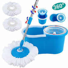 Blue Microfiber Spinning Floor Mop 360° Rotating Easy with Bucket & 2 Heads