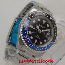 40mm Bliger black dial ceramic bezel GMT sapphire glass automatic mens watch 176