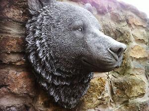 (NEW)GARDEN ORNAMENT, LARGE BEARS HEAD WALL PLAQUE,GREAT DETAIL,STUNNING DESIGN