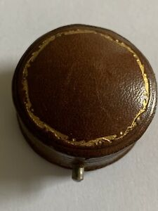 Delightful Little  Antique Hinged Round Shaped Brooch Box