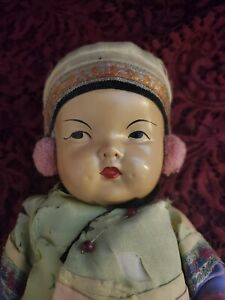 Vintage/Antique Ming Ming Asian Composition Baby Doll Original Clothes Cute