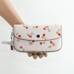 🌺NWT Coach 1941 Cherry Print Leather Glitter Clutch Wristlet Wallet 21778 New