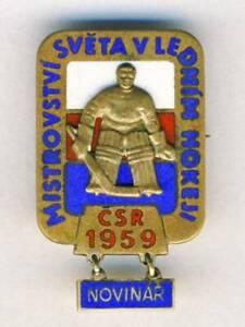 1959 IIHF WORLD Ice HOCKEY Championships PRESS PIN Badge PARTICIPANT Journalist