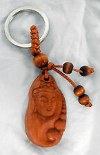 Wooden Keyring / Key Ring with Kwan Yin Buddha Face - Quality Item - BNWT