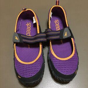 Women's Speedo Offshore Strap Athletic Water Comfort Shoes SZ 10 M Purple Black