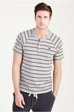 True Religion Men's Embroidery Logo Henley Shirt in Printed Black Stripes (S, L)