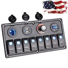 8 Gang Car Boat Rocker Switch Panel Dual USB Cigarette Lighter Socket Voltmeter