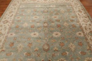 Antique Hand Made Traditional Agra Blue Parsian Oriental Wool Area Rug