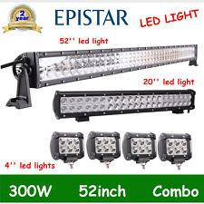 "52Inch 300W LED Light Bar Combo+20'' 126W+4"" CREE PODS OFFROAD 4WD ATV Auto Boat"