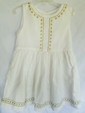 Crazy 8 Girl's Dress size 4T White Gold Sleeveless Lined Summer Dress