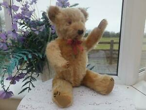 "Old Vintage ANTIQUE BEAR 17"" Mohair Jointed  Wood Straw Fill  Glass Eye Chiltern"