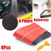 4x Carbon Fiber Car Window B Pillars Decorative Protection Anti Scratch Sticker