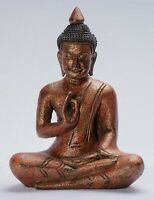 Buddha - Antique Khmer Style Seated Wood Buddha Statue Teaching Mudra - 27cm/11""