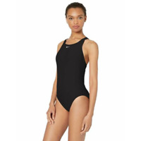 New Nike Womens Solid Black One Piece Swimsuit Size 6 / 32